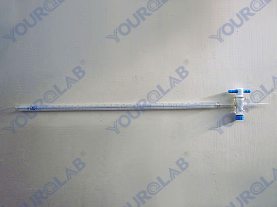 Burette with blue line on milk white background straight PTFE stopcock