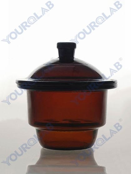 DESICCATOR with porcelain plate,amber glass