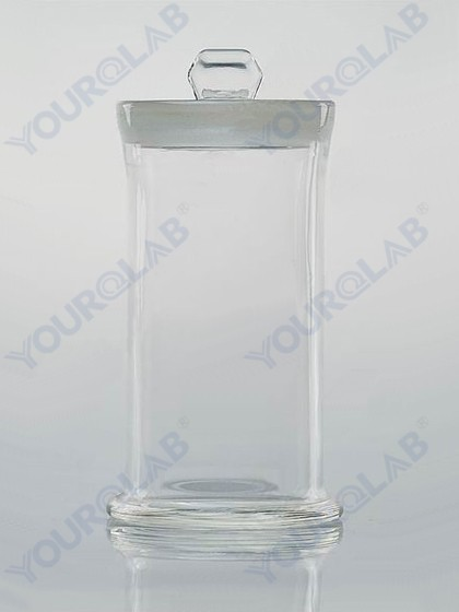 SPECIMEN JAR with ground-in glass stopper with knob
